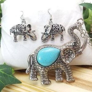 Jewelry - Silver Toned Elephant Necklace and Earring Set